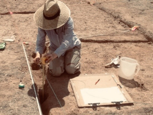 Nicole Mathwich excavating Spanish colonial corrals in southern Arizona.